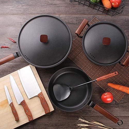 Wok accessoires, Perfect gezonde droge koekenpan, Iron wok combinatie cooking pot, koekenpan kookpan klassieke wok set-wok, soeppan, braden pan_conventional, Koperen koekenpan antiaanbaklaag roestvrij