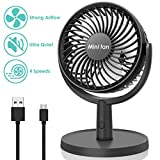 Mini Desk Fan, USB Operated Fan with 4 Speeds, Strong Airflow, Ultra Quiet Operation, 310° Adjustment, Portable Personal Fan for Home Office Desktop