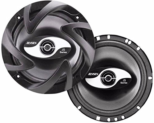 Jensen JS265 JS-Series 6.5' 2-Way Speaker Car (Pair), 100 Watts Peak Power Handling, 50 Watts RMS Power Range, Treated Paper Midwoofer, Black Foam Surround, 1' Black Mylar Dome Tweeter