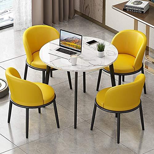 JU FU Tisch- und Stuhlkombination, einfach Haupthofdekorationen 60CM kleines runder Tisch Bürobereich Freizeit Tisch und Stuhl 5-teiliges Set, 8 Farben erhältlich (Color : B(Leather Chair))