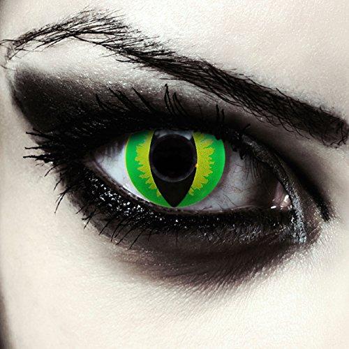 """Grüne farbige Drachenaugen Katzenaugen Kontaktlinsen für Halloween Kostüm Model:\""""Green Dragon\"""" + gratis Kontaktlinsenbehälter"""