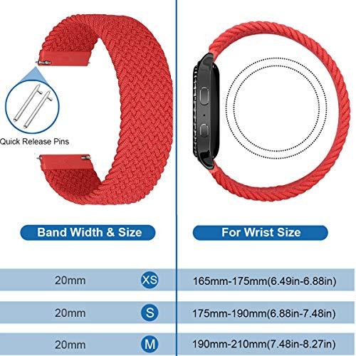 MroTech 20mm Uhrenarmband kompatibel für Samsung Galaxy Watch 42MM/Active 2/Active2 40mm/44mm/Galaxy Watch3 41mm Armband für GT 2 42MM/GTR 42 mm/GTS Nylon Loop Stoff Elastic Woven Band Rot/S