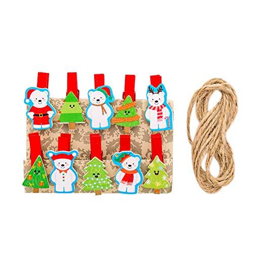 Gespout 10 Stück Deko Weihnachtsdekoration Adventskalender Holzklammern Mini Zierklammern für Foto Bilder Kinder Geburtstag Geschenkklammern und Jute-Schnur Size 10.2cm*8.2cm (Weihnachten Schneemann)