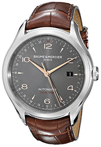 Baume and Mercier Clifton Reloj de hombre de cuero de cocodrilo marrón con esfera gris