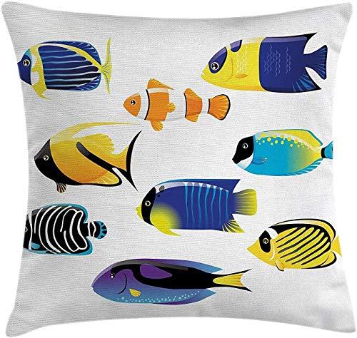 Keyboard cover Ocean Animal Decor - Funda de cojín, diseño de animales marinos con código Atlantic Linda paleta Surgeonfish Image, 18 x 18 pulgadas, multicolor