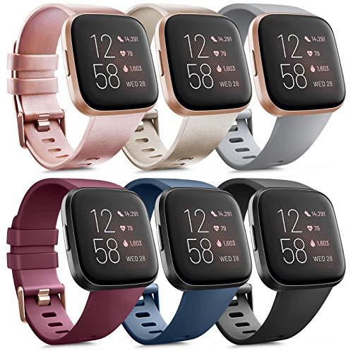 Oumida 6 Pack Kompatibel für Fitbit Versa 2 Armband/Fitbit Versa Armband, Silikon Sport Klassisch Ersatzarmband Kompatibel für Fitbit Versa 2/Fitbit Versa/Fitbit Versa Lite (A, S)