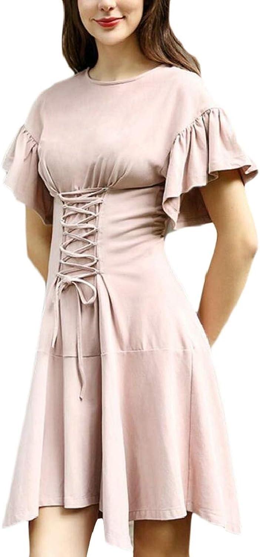 EtecredpowCA Women's Lace Up Zipper Comfortably Irregular Swing Ruffled Pleated Midi Dresses