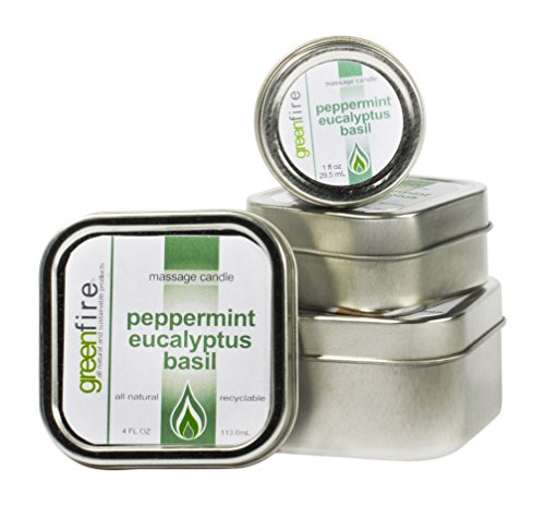Greenfire All Natural Massage Oil Candles, Peppermint Eucalyptus Basil, Size 1,2,4 Fluid Ounce, Set of 3 by Greenfire Candles for Massage