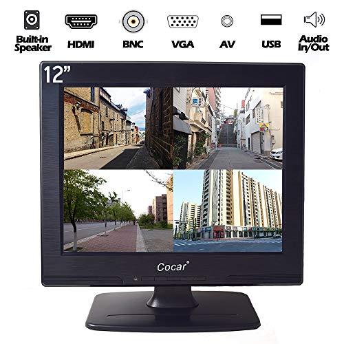"""12"""" CCTV Sicurezza Monitor con AV/HDMI/BNC/VGA, 4:3 800x600 LCD HD Schermo(LED Retroilluminazione) con USB Drive Lettore Altoparlante Integrato per Casa/Negozio Sorveglianza Telecamera PC STB"""