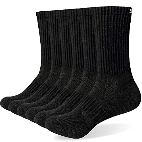 TANSTC Sneaker Socken Herren Damen Baumwolle Laufsocken Atmungsaktiv Weich Lange Warm rutschfest Sportsocken Schwarz Weiß Grau 6 Paar 43-46 39-42 35-38 47-50 Wandersocken,Schwarz L