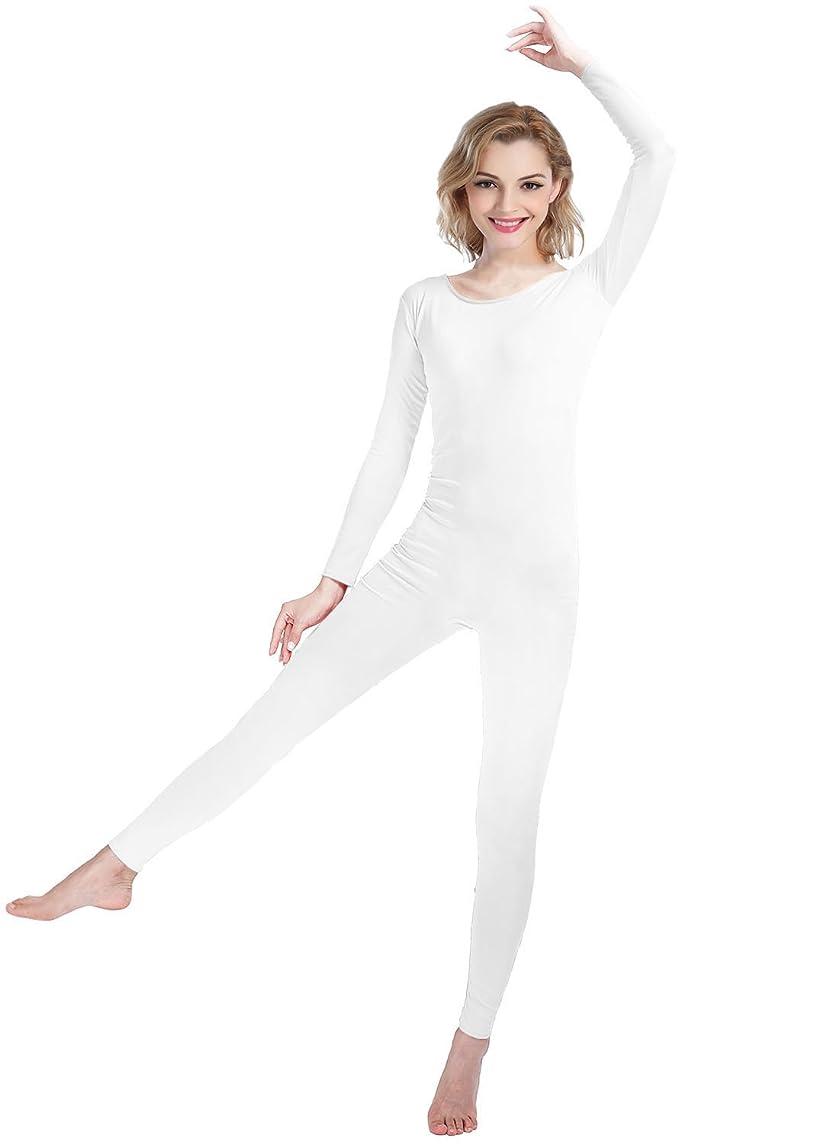Shinningstar Women's Well-fit Spandex Lycra Bodysuit Long Sleeve Scoop Neckline Footless Dance Unitard
