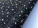 HomeBuy Seiden-TAFT Stoff mit goldfarbenen Sternen