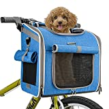 BABEYER Dog Bike Basket Carrier, Expandable Soft-Sided Pet Carrier Backpack for Bike Riding, 4 Open Doors, 4 Mesh Windows for Medium Cats Dogs Puppies