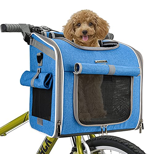 BABEYER Dog Bike Basket Carrier, Expandable Soft-Sided Pet Carrier Backpack for Bike Riding, 4 Open Doors, 4 Mesh Windows for Small Medium Cats Dogs Puppies