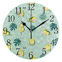 Promini Green Avocado Palm Leaf Star Wooden Wall Clock 12inch Silent Battery Operated Non Ticking Wall Clock Vintage Wall Decor for Kitchen, Living Room, Bedroom, School, or Office
