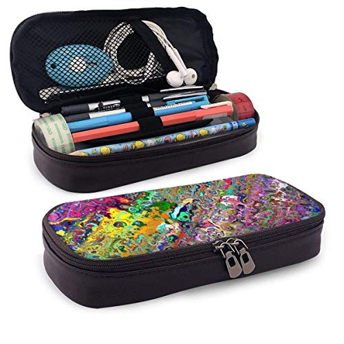 XCNGG Estuche para lápices neceser Colorful Fancy World PU Leather Pencil Case School Office Use Zipper Stationery Organizer
