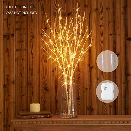 Hairui Beleuchteter Weidenast Weißbirke Dekoration 80CM 100LED batteriebetrieben Vorbeleuchtete Zweigleuchten für Hausdekoration Innenbereich Außenbereich 2 Pack (Vase nicht enthalten)