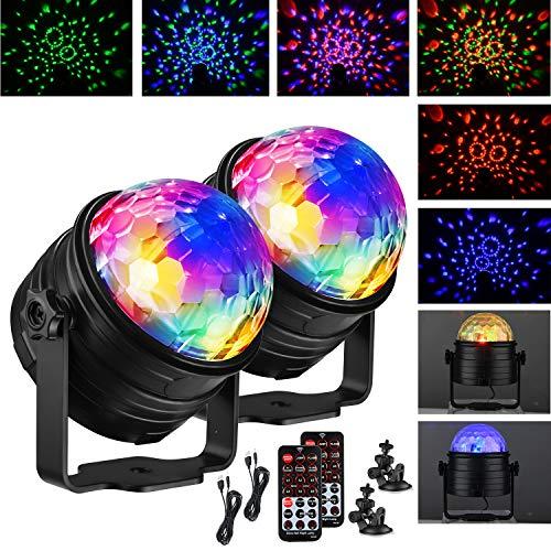 KOHREE Discokugel LED mit Fernbedienung 2 Stück, Musikgesteuert 360° Drehbar, Timer, 4M USB-Kabel 7 RGB Farbe 4...