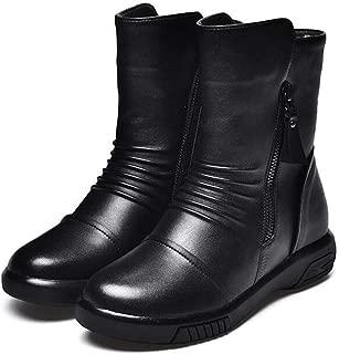 Women Ankle Short Boots Slip On Retro Side Zip Faux Leather Round Toe Vegan Martin Winter Bootie