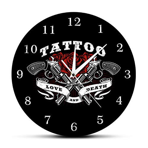 Gexingshangdian wandklok persoonlijkheid elegant tattoo logo platform Wall Clock Love and Death Rose and Tattoo Guns Wall Clock Tattoo Studio Gothic Decor Art The Tattoo is Gift