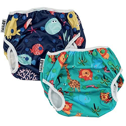 fakiku Pañales de natación con contenido, 0 – 36, ajustables y lavables y reutilizables, para piscina y mar, 2 unidades en paquete Verde Talla única