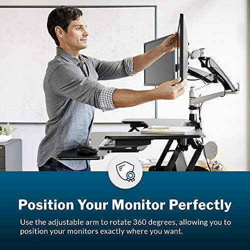 """Vari Dual-Monitor Arm - Full-Motion Spring w/ 360 Degree Articulation - Easy Height Adjustment - Free Up Desk Space - VESA Compatible - Mount up to 27"""" Monitors w/Easy Assembly"""