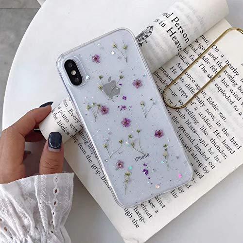 Hnzxy Funda iPhone 12 Pro Max,Carcasa iPhone 12 Pro Max Brillante Brillo Flores Reales TPU Suave Transparente Delgada Glitter Sparkle Funda de Silicona Flexible Funda Carcasa,Morada