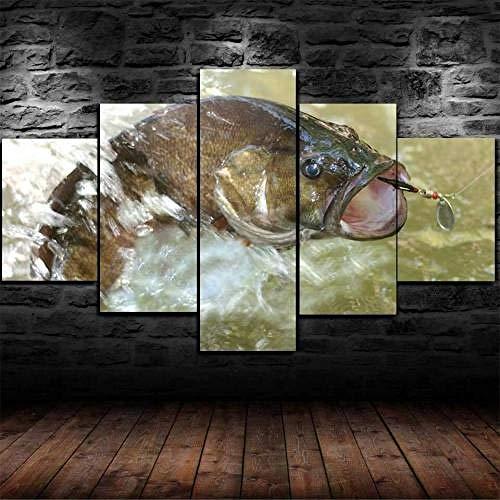 13Tdfc Cuadro En Lienzo, Imagen Impresión, Pintura Decoración, Cuadro Moderno En Lienzo De 5 Piezas XXL,150X80 Cm,Cebo De Señuelo De Pesca De Lubina Enmarcado Murales Pared Hogar Decor