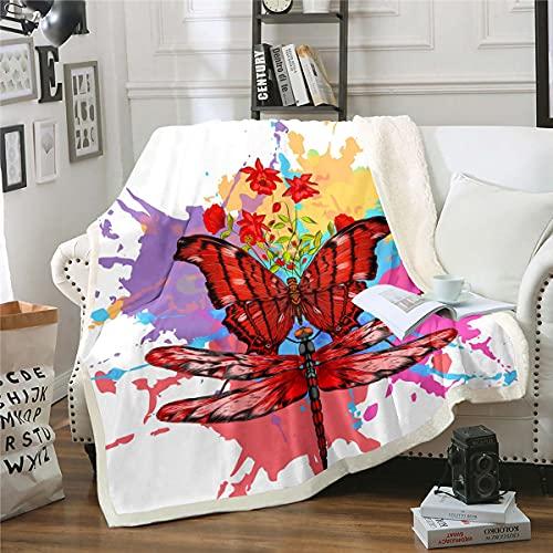 Manta de felpa con diseño de mariposa roja 3D, diseño floral de libélula, para niños y niñas, manta de felpa teñida bohemia, decoración gitana, manta difusa para sofá cama, cama doble, 156 x 172 cm