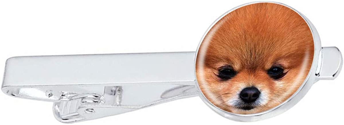 Men Tie Clip Little Pomeranian Dog Stainless Tie Pins for Business Wedding Shirts Tie Clips Include Gift Box