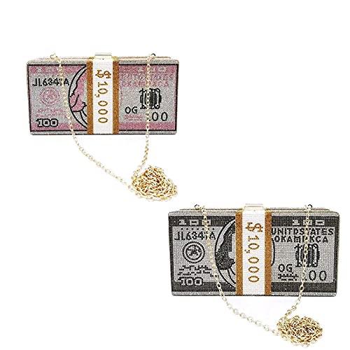Money Clutch Rhinestone Purse, 10000 Dollars Stack of Cash Evening Handbags, Wedding Evening Bags (Pink+Black)