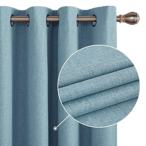 Deconovo Total Blackout Curtains 45 Inch Length, Teal Curtains Set of 2, Linen Textured Grommets Top Curtain with Coating, Short Curtains for Small Windows(Teal, 52W x 45L Inch, 2 Panels)