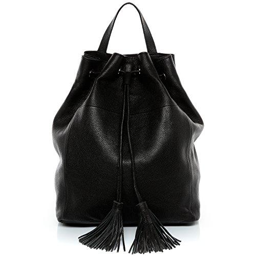 BACCINI® Zaino vera pelle NAPOLI borsa a spalla borsa a zainetto backpack donna cuoio nero