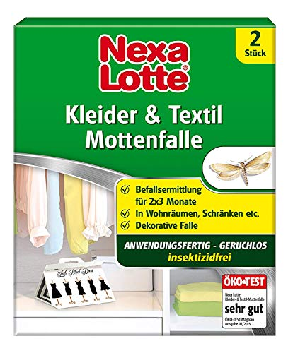 Nexa Lotte Kleider- & Textil-Mottenfalle, Insektizidfreie Klebefalle gegen Kleidermotten, 2 Fallen