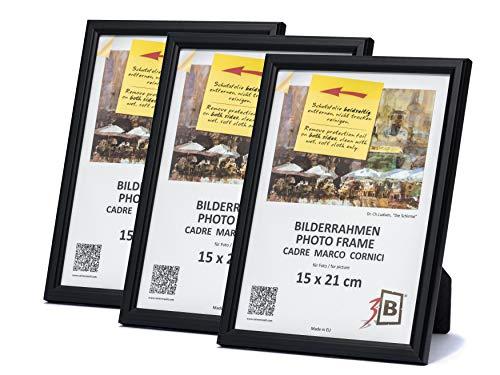 3B Conjunto de 3 Piezas Jena Marco - Negro - 15x21 cm (A5) - Madera sólida Marcos, Marcos de Fotos