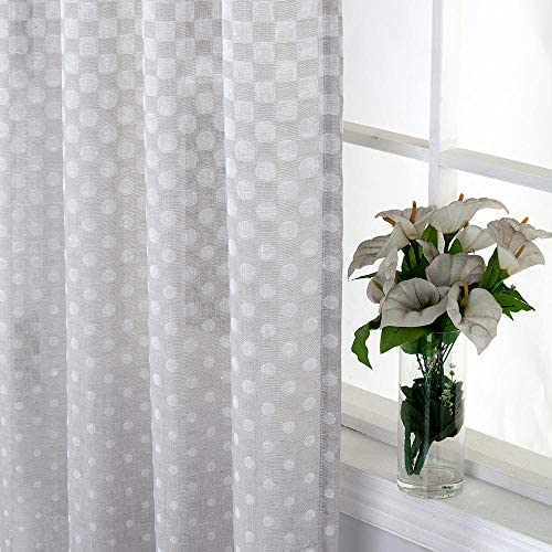 Everyday Celebration Polka Dot Semi Sheer Curtains For Bedroom Rod Pocket Linen Sheer Voile Curtain Panels 52 X 96 Inch Red Rust 1 Panel Home Kitchen Amazon Com
