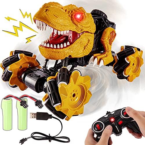Buyger Coche Teledirigido Juguete de Dinosaurio, 4WD Rotación de 360° RC Coches Todoterreno Radiocontrol Recargable, Luz y Sonidos, Regalos para Niños