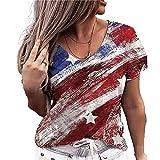 Elesoon Camiseta de verano para mujer, talla grande, diseño floral de la bandera de EE. UU, A-red Flag, 48