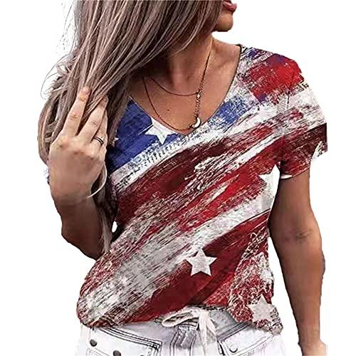 Elesoon Camiseta de verano para mujer, talla grande, diseño floral de la bandera de EE. UU, A-red Flag, 46