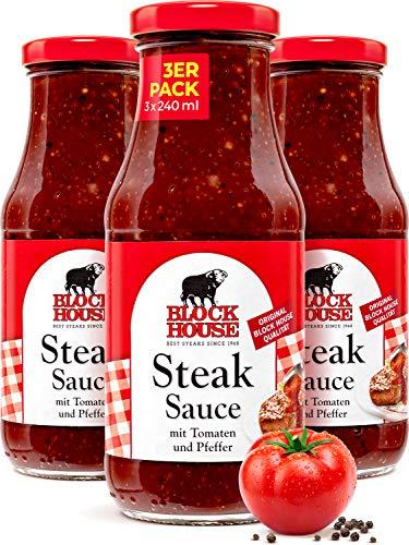 Block House Steak Sauce 3x 240ml für Fleisch oder Fisch-Gerichte - in Restaurantqualität