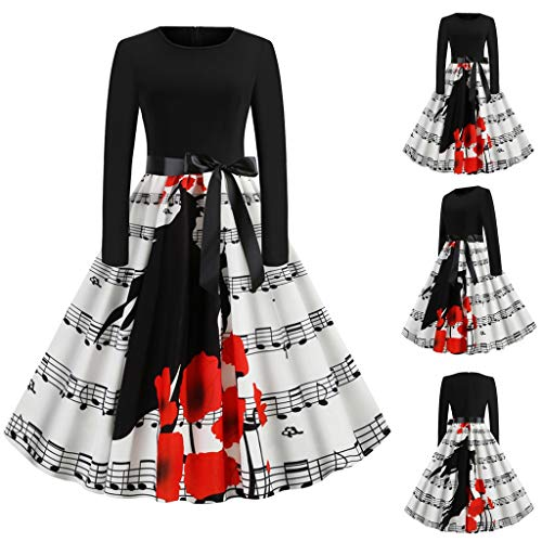 Best Review Of Kiminana Ladies Halloween Printed Long-Sleeved Bow Big Swing Dress Skirt Musical Note...