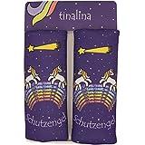 tinalina 2x Gurtpolster für Kinder, Gurtschoner für Kinder | in Lila für Mädchen | mit einzigartigem Einhorn Tier Motiv |für Autogurt & Babyschale