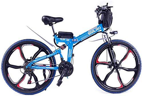 Leifeng Tower Bicicletas eléctricas plegables de alta velocidad de 26 pulgadas, 48 V/10 A/350 W doble freno de disco suspensión completa bicicleta Boost Mountain Ciclismo (color: azul)