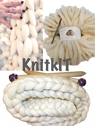 DIY Knit Kit Super Chunky Knit Blanket, Giant Knitting, Giant Needles