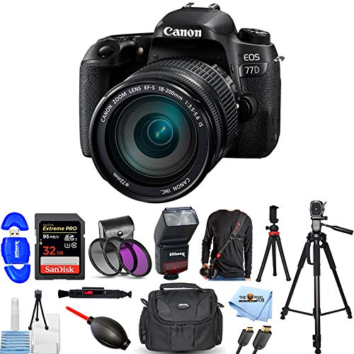 Canon EOS 77D DSLR Camera with EF-S 18-200mm is Lens Pro Bundle with 32GB SDHC, TTL Flash, Camera Sling, Tripods, Gadget Bag and More