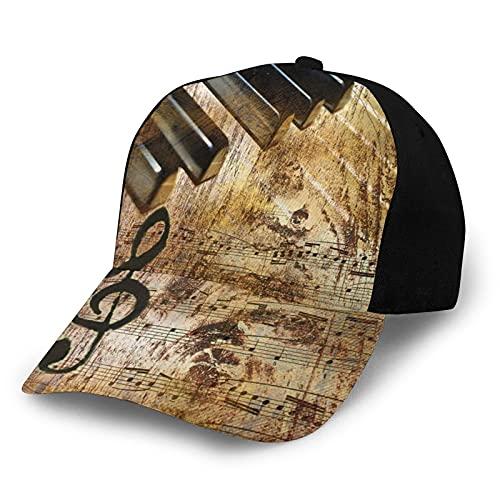 ZORIN Cappellino da baseball per uomo e donna pianoforte spartito musica vintage nero hip hop cappelli regolabili Snapback papà camionista cappello