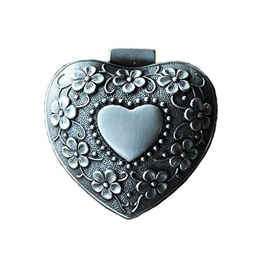 Belons Hartvormige sieradendoosje, sieradendoosje, zinklegering, sieradendoosje, ring, ketting, oorbellen, hartjesdoosje voor dames meisjes, antiek zilver