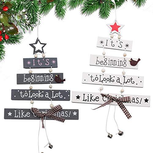 XCOZU Decoración de Navidad de Madera, 2 Piezas de árbol de Navidad Madera Decoración para Ventana Puerta Pared, Colgante de Madera Creativa Manualidades Regalos de Fiesta, Blanco y Gris