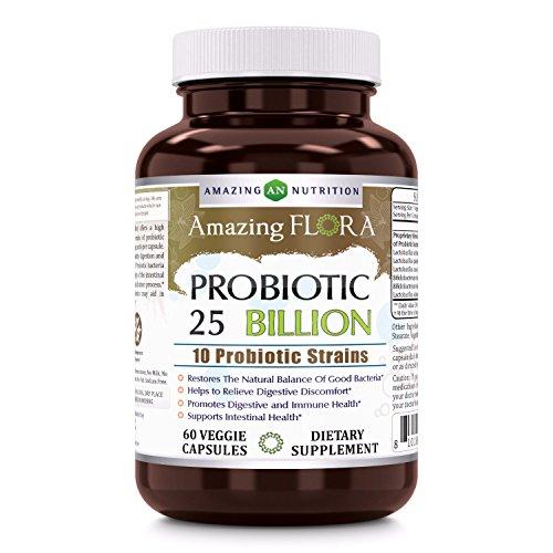Amazing Flora Probiotic 25 Billion with 10 Best Probiotics Strains Including Acidophilus, plantarum, rhamnosus etc * Supports Digestive & Immune Health *60 Veggie Capsules (Non GMO,Gluten Free)