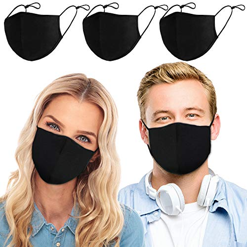 Face Protection, 3PCS, 3 Layers Non-woven Fabric with Adjustable Ear Straps, Washable and Reusable, for Men and Women, Unisex